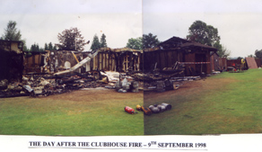 Buxted Park Bowls clubhouse after the fire in 1998